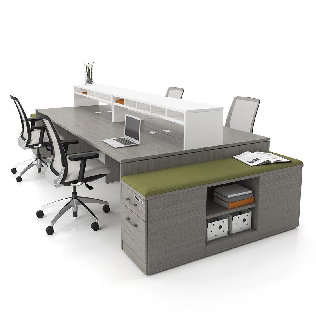 Open Desk with Storage Bench